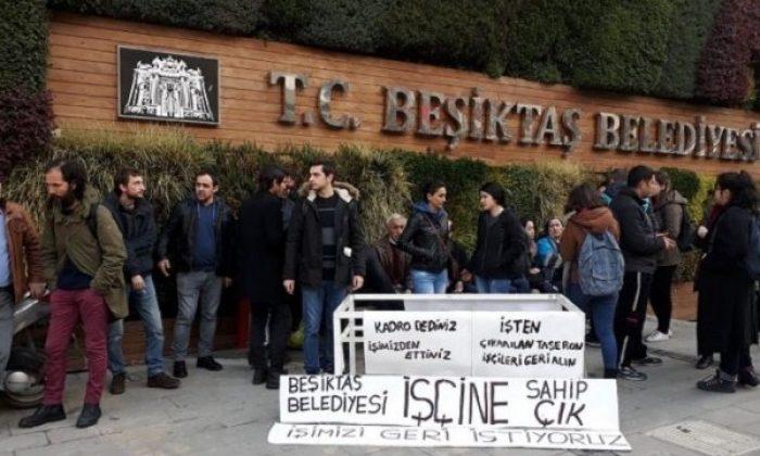 Beşiktaş Belediyesi çalışanları greve gitti